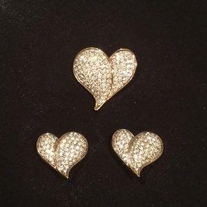 Swarovski jewelry Heart Brooch & earrings